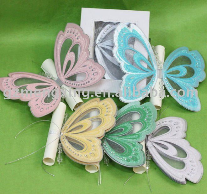 hot sale!!! unique butterfly shape party invitation cards with,