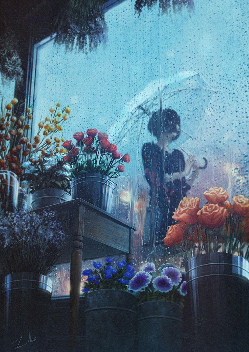 Fantasy Girl Beautiful Flower Rose Rain Umbrella Wallpaper Anime Wallpaper Anime Scenery Aesthetic Anime