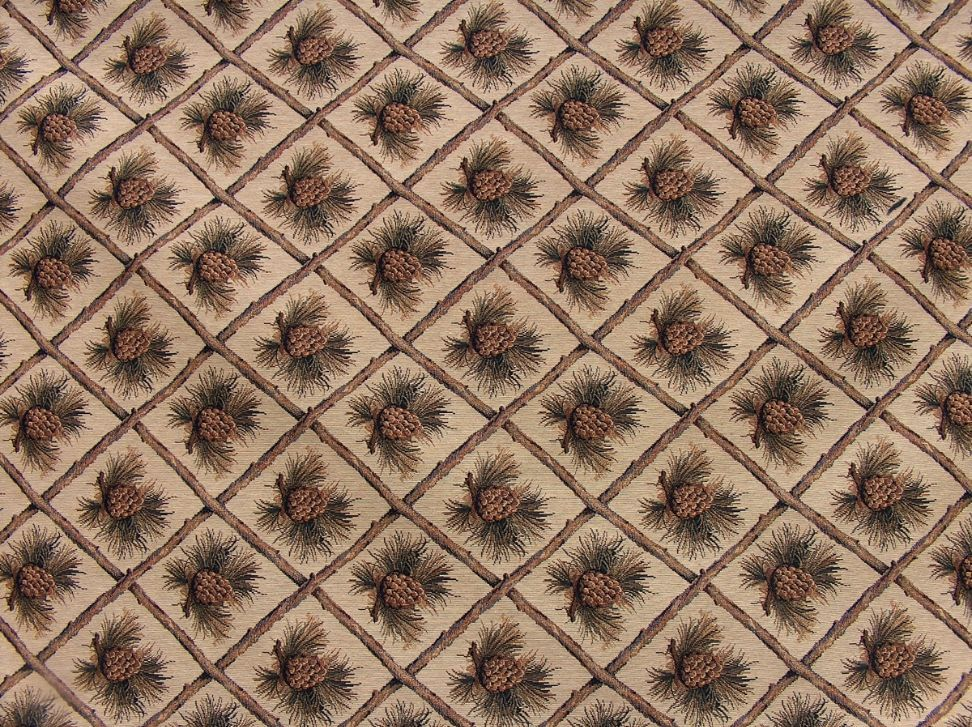 Rustic Pine Cone Beige Tapestry Heavy Duty Upholstery Fabric