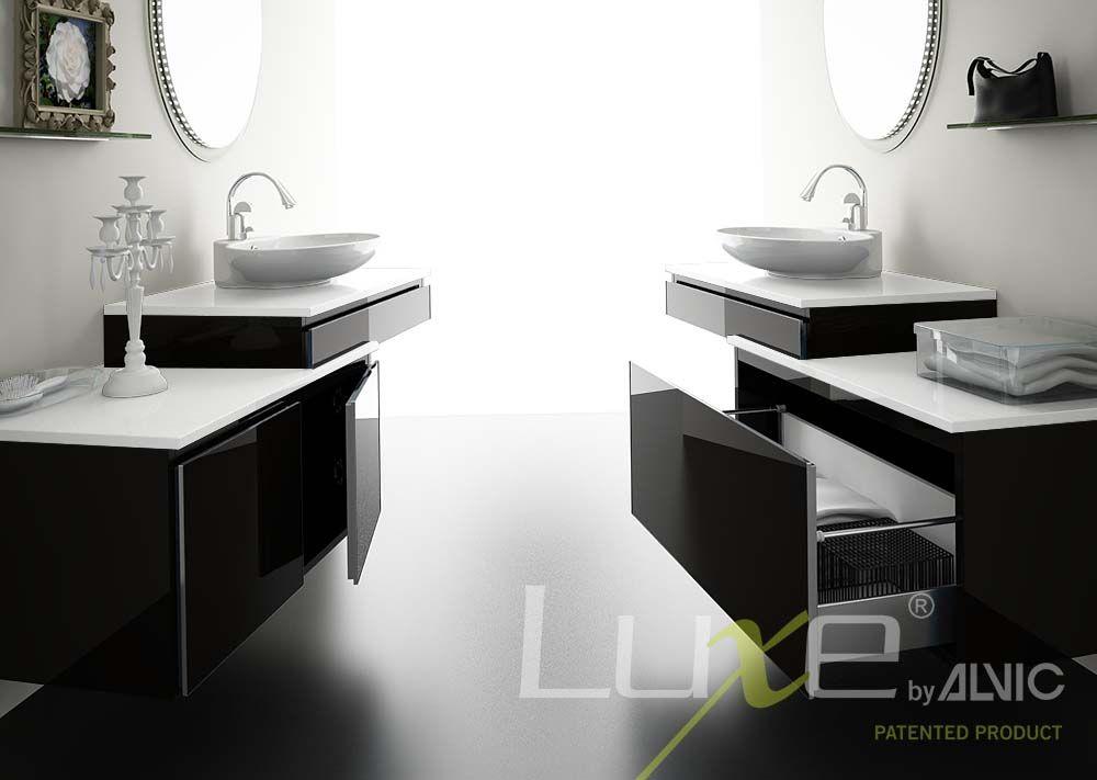 Muebles de ba o en blanco y negro alto brillo tendencia for Muebles blanco y negro