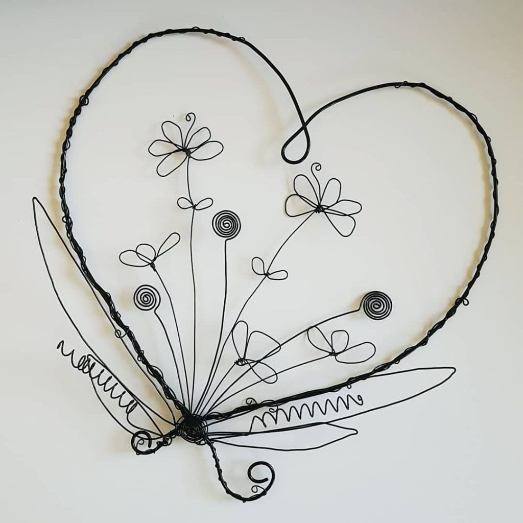 Floral Wreath Heart Shaped Handmade With Wire