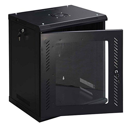 Safstar Wall Mount Network Server Data Cabinet Enclosure Rack Glass Door Lock W Fan 12u Type Network Server Cab Server Cabinet Glass Door Lock Device Rack