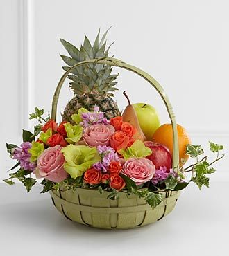 Flowers And Fruit Arrangements Google Search Fruit Flower Basket Fruit Flowers Flower Delivery