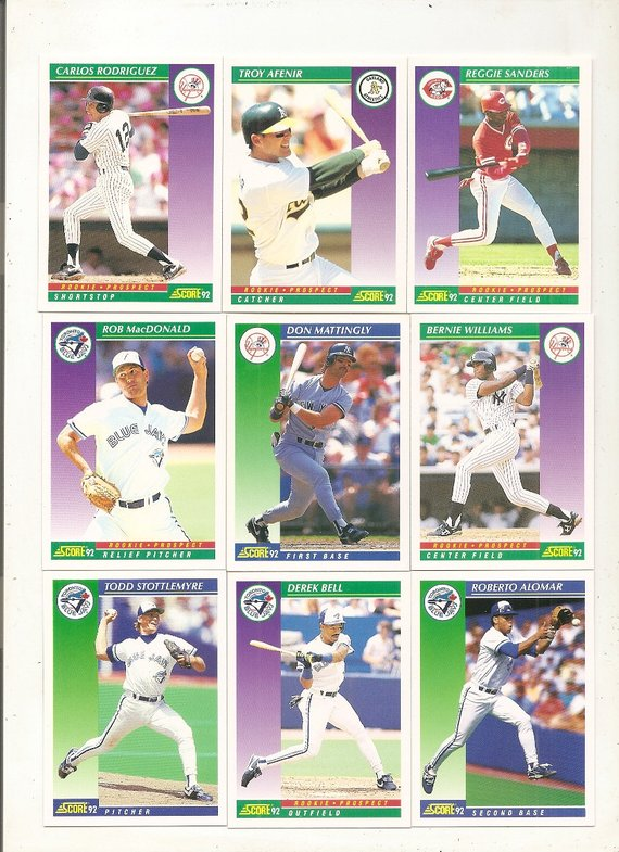 62 Old Vintage 1992 Score Baseball Picture Cards Products In 2019