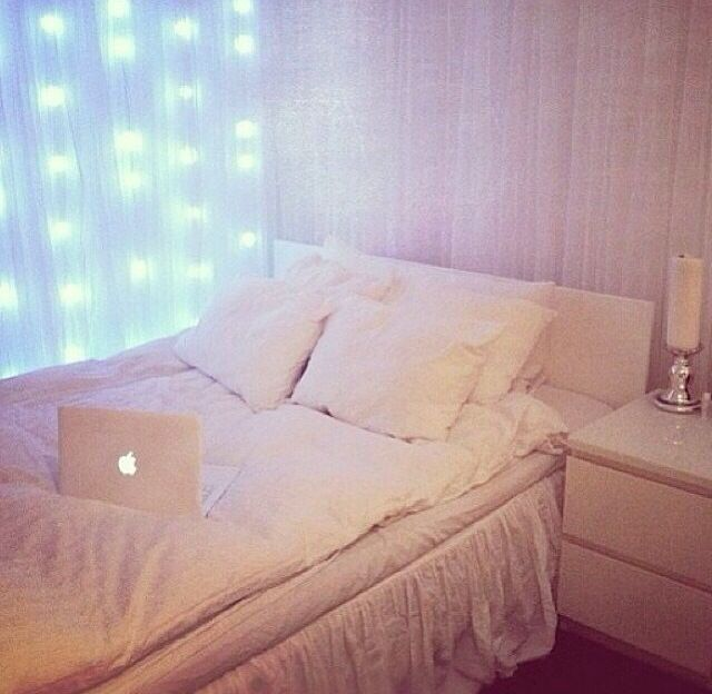 Waterfall Fairy Lights In White Bedroom Room Inspiration Home