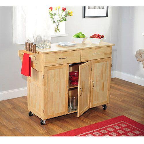 Extra Large Kitchen Cart with Wood Top, Natural Furniture - ideen für kleine küchen