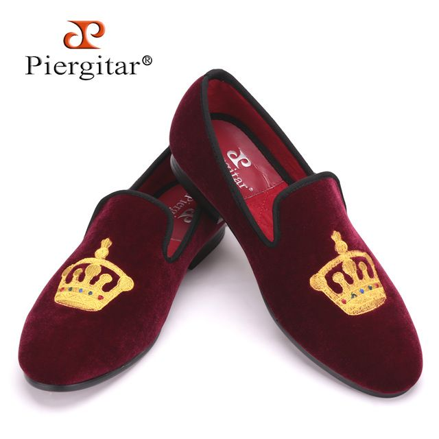 85494ddd570 Embroidered Gold Crown Design Men Velvet Shoes Fashion Men Smoking Slippers  male wedding and party loafers US4-17 Free shipping