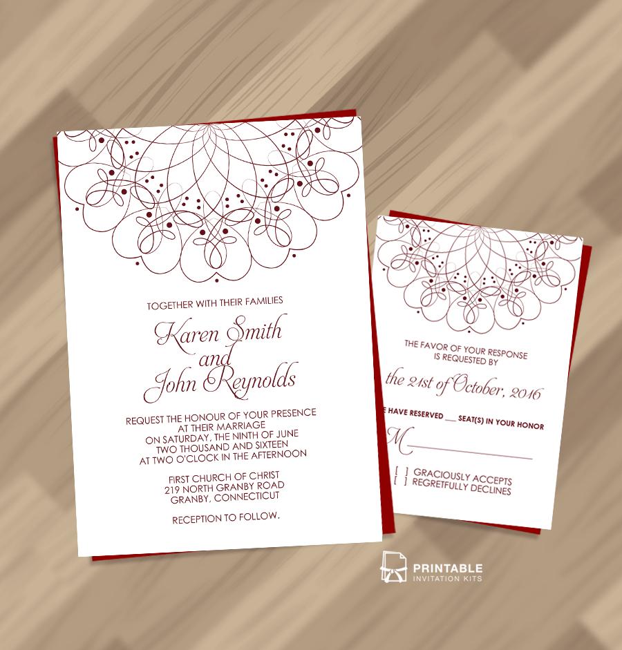 Spiral Ornament Border Wedding Invitation And