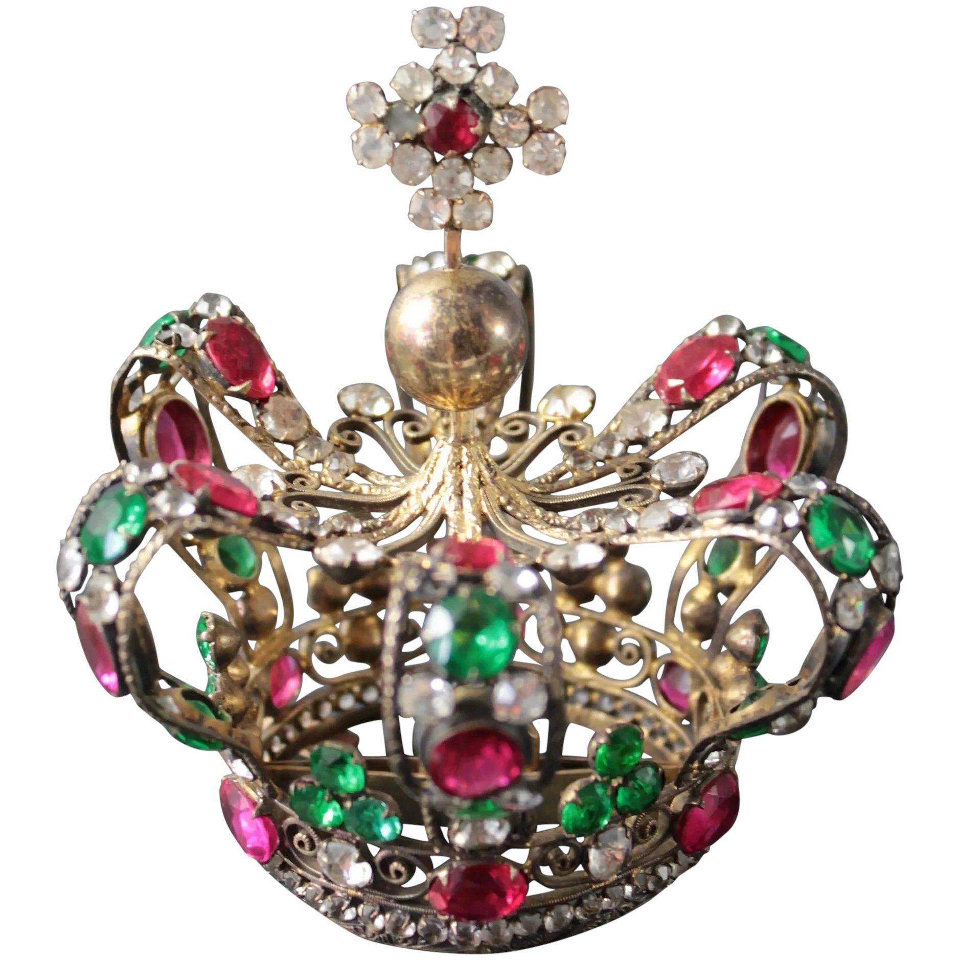 Fabulous French Antique Bejeweled Religious Santos Madonna Crown Tiara diadem, circa 1850