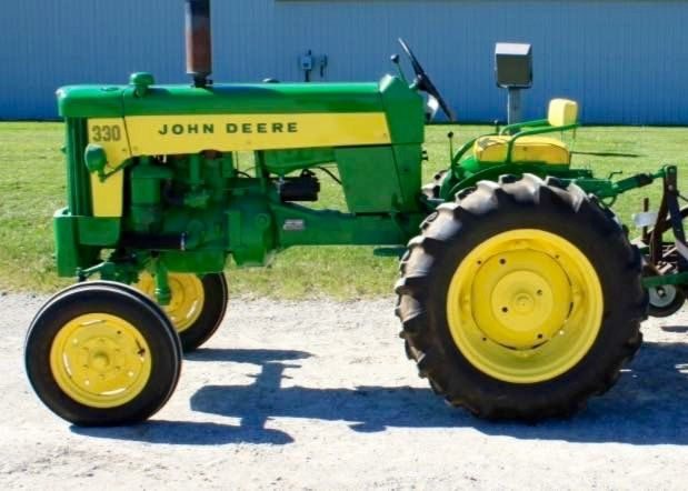 John Deere two cylinder model 330 with mounted plow | JD 2