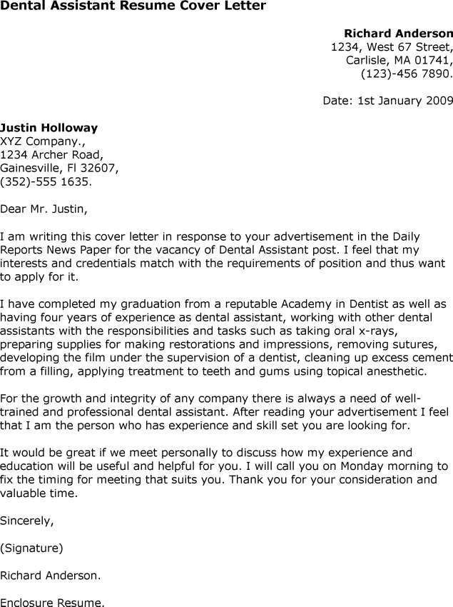 Dental Assistant Cover Letter Examples Experience Resumes  Home