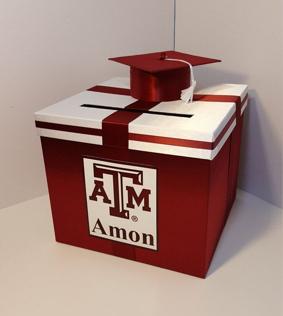 Graduation Card Box Maroon And White Gift Card Box Money Box Holder