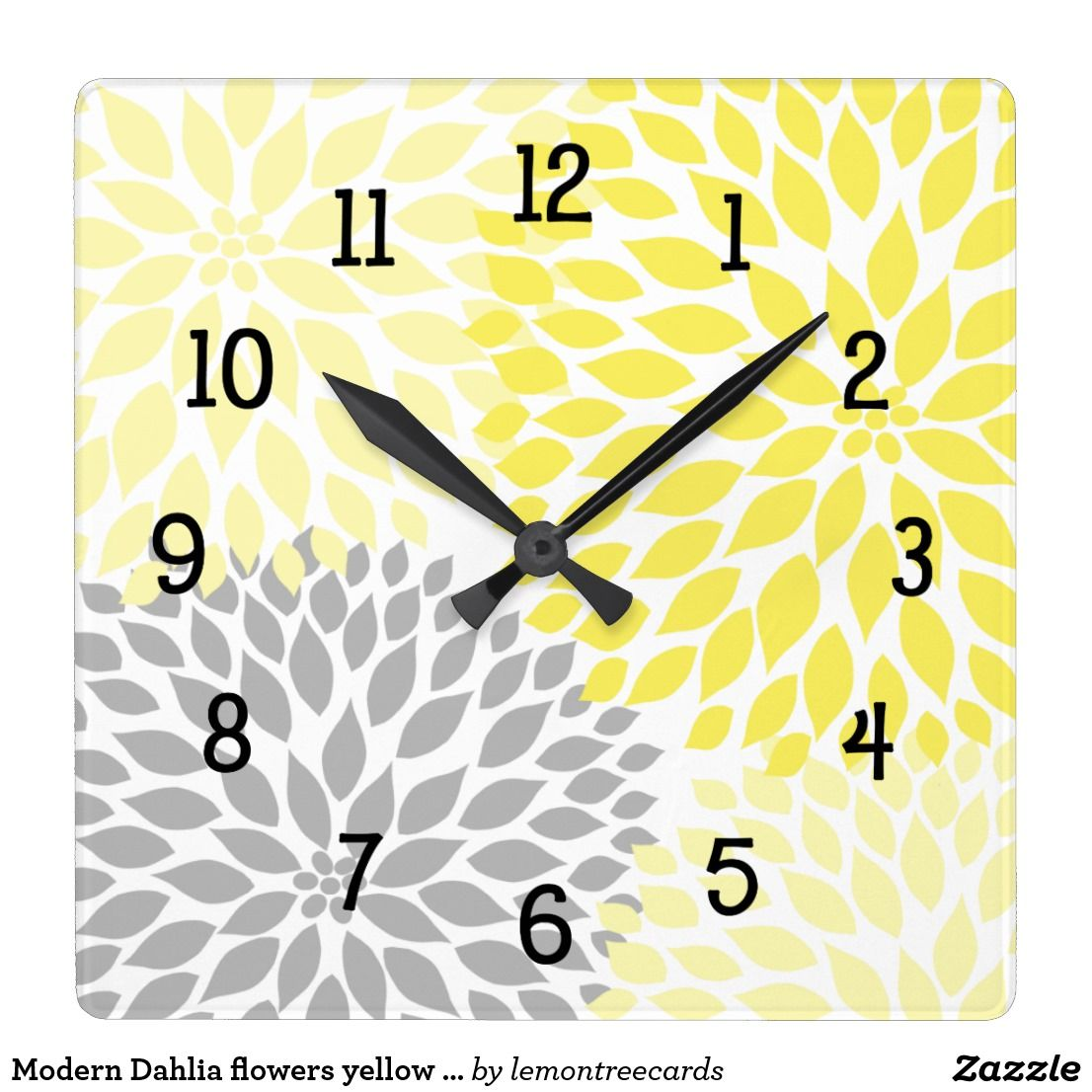 Modern Dahlia flowers yellow and gray grey Square Wall Clock ...