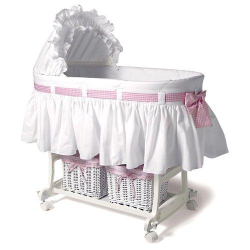 Moises de bebe, Algodon natural y cestas de mimbre, color rosa ...