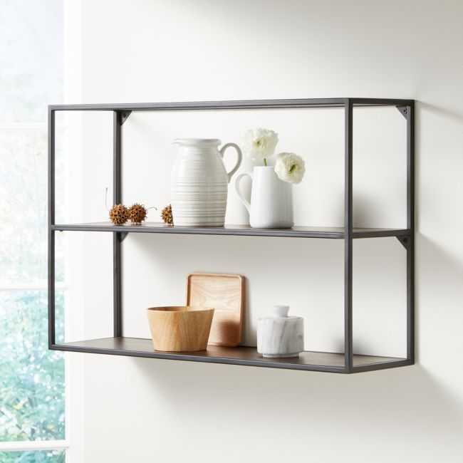 Booker Double Wide Rectangle Wall Display Shelf + Reviews | Crate and Barrel