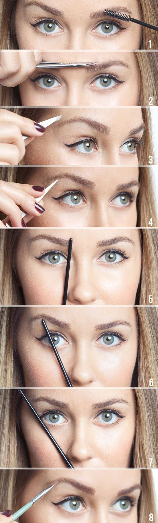 1. Brush hair UP 2. Trim hair OUTSIDE of brow line 3. and 4. Pluck hairs with tweezers 5. Hold pencil straight from edge of nose. This is where inside of brow should be. 6. Angle pencil to middle of...