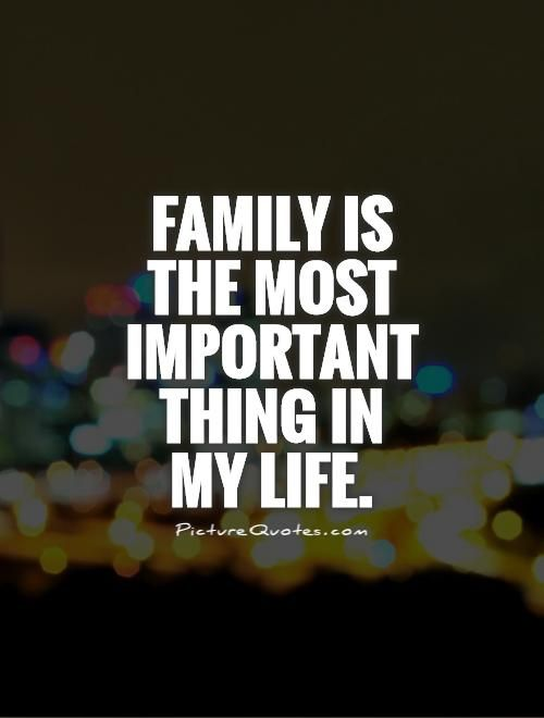 Family Is The Most Important Thing In My Life Picture Quotes