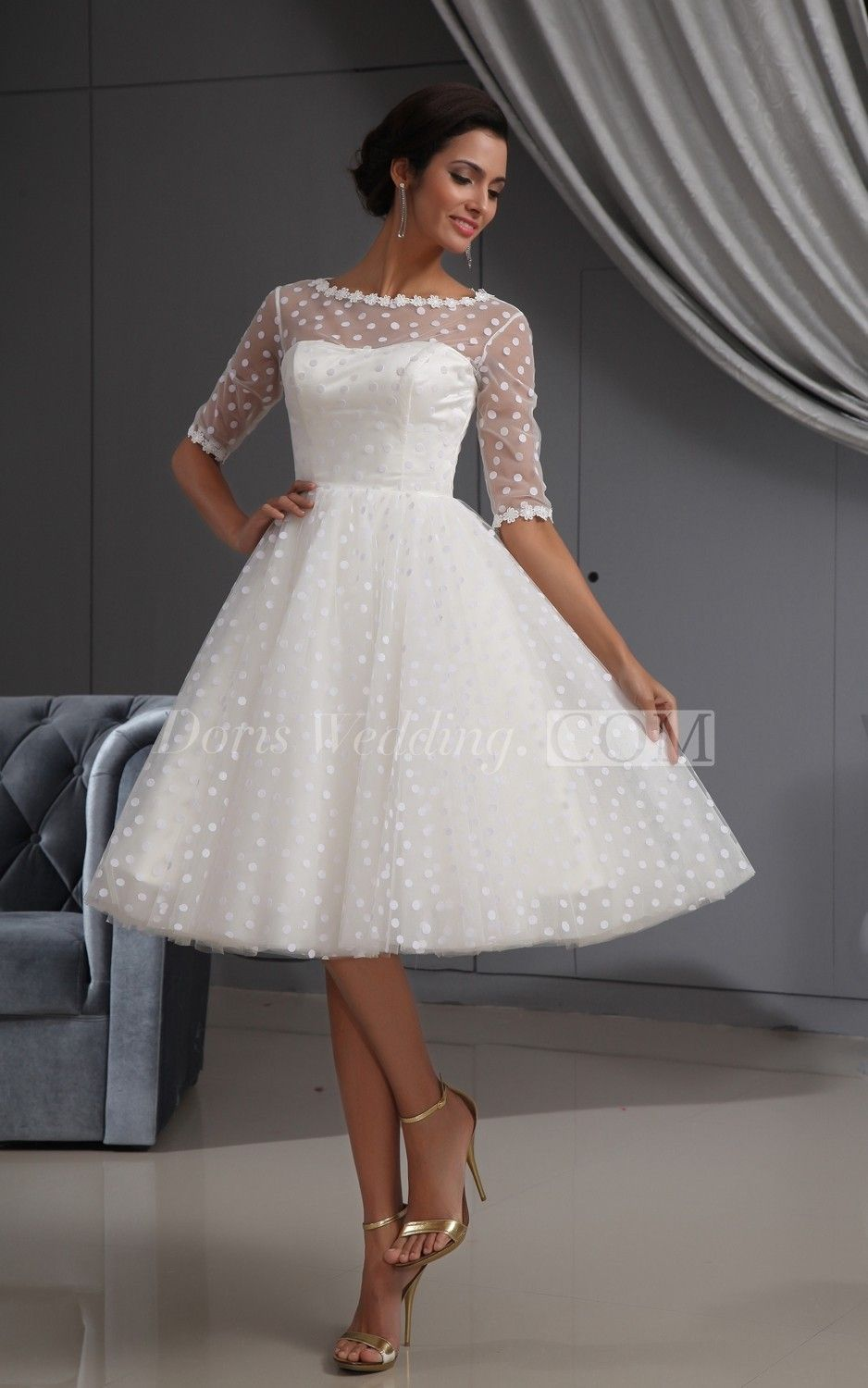 Half Sleeve Illusion Knee Length Short Dress With Lace And Dot Knee Length Wedding Dress Lace Wedding Dress With Sleeves Ball Gowns Wedding
