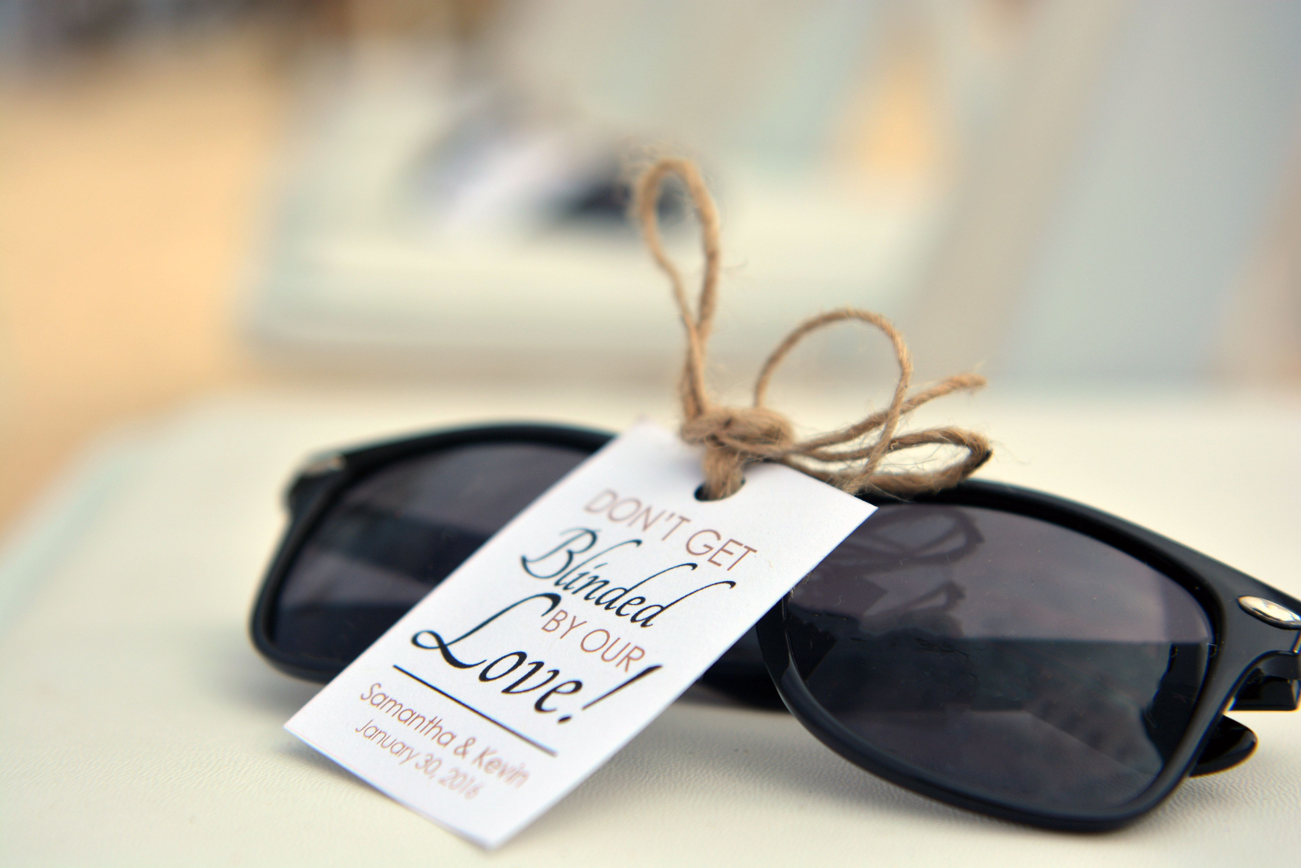 Sunglasses as wedding favors| Venue Kukua Punta Cana| Photo by HDC ...