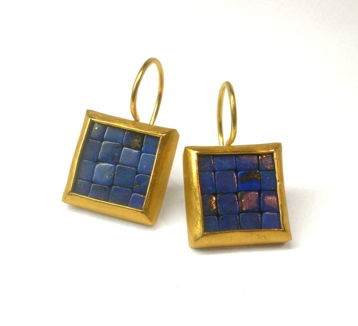 Mosaic Earrings Lapis Lazuli Gold Square Blue And Ready To Ship
