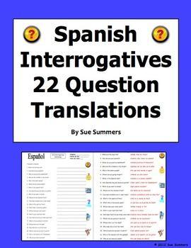 Interrogatives Words Sentences - Spanish Questions Words ...