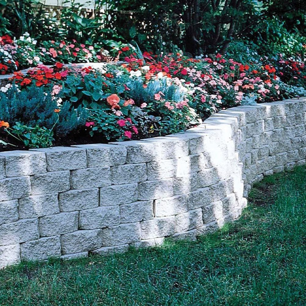 4 In X 11 75 In X 6 75 In Pewter Concrete Retaining Wall Block