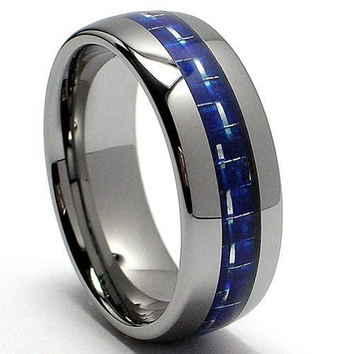Thin Blue Line Dome Tungsten Carbide Ring with Blue Fiber Inlay