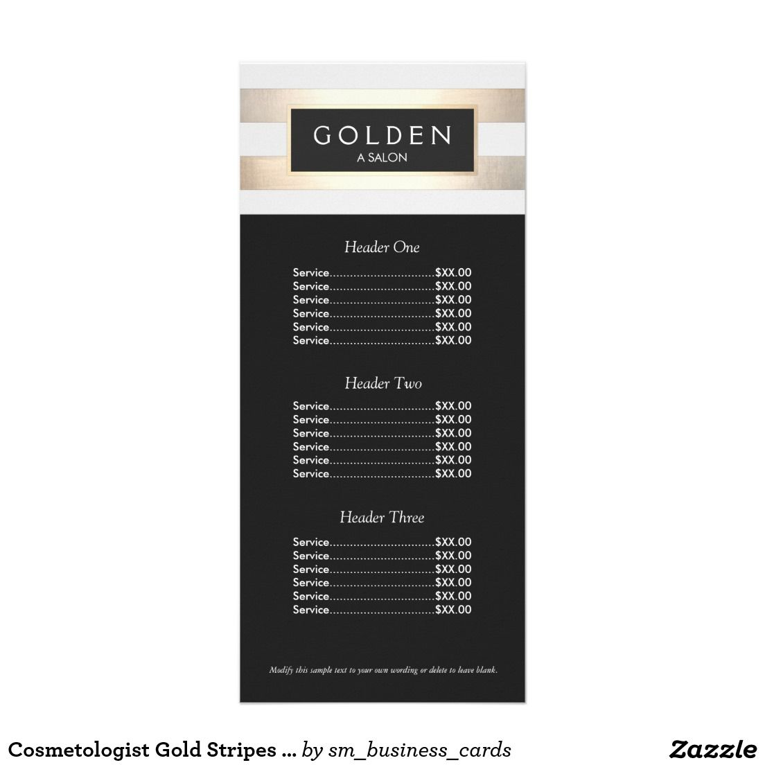 Cosmetologist Gold Stripes Hair Salon A Price Menu Rack Card Template