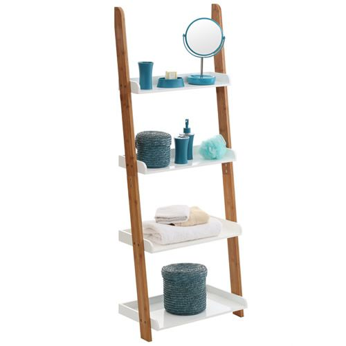 Charmant Gloss White U0026 Bamboo Ladder Shelf At STORE. Free Standing Bamboo And White  Gloss Ladder Shelving Unit.