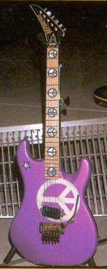 Richie Sambora's famous custom made reverse headstock 'Peace' sign Kramer guitar. #kramerguitars #kramer