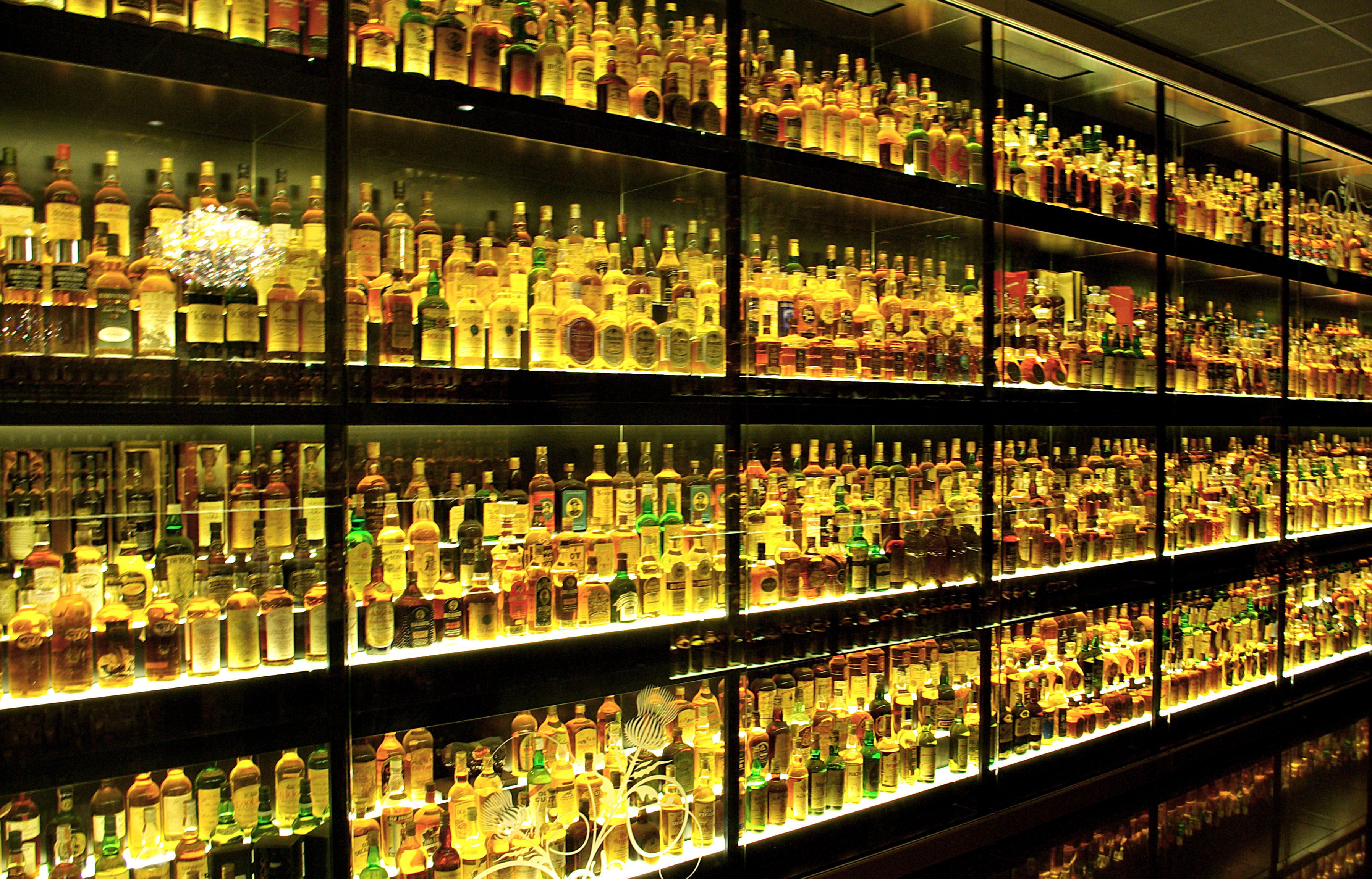 A wall of whisky at The Scotch Whisky Experience