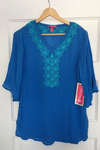 9008aa53197 NWT-Lilly-Pulitzer-Target-Blouse-Sz-S-Bluebell-Gauze-Embroidered-Tunic-Top -NEW
