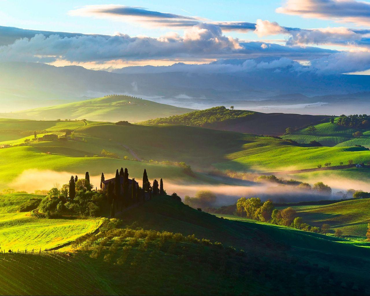Italy Tuscany Field 1280x1024 Italy Landscape Landscape Wallpaper Nature Wallpaper