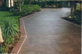 Stamped concret driveway smooth acid washed center with for Acid wash concrete driveway