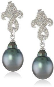 Sterling Silver, Tahitian Pearl and Diamond Dangle Earrings (0.1cttw, GH Color, I2-I3 Clarity)