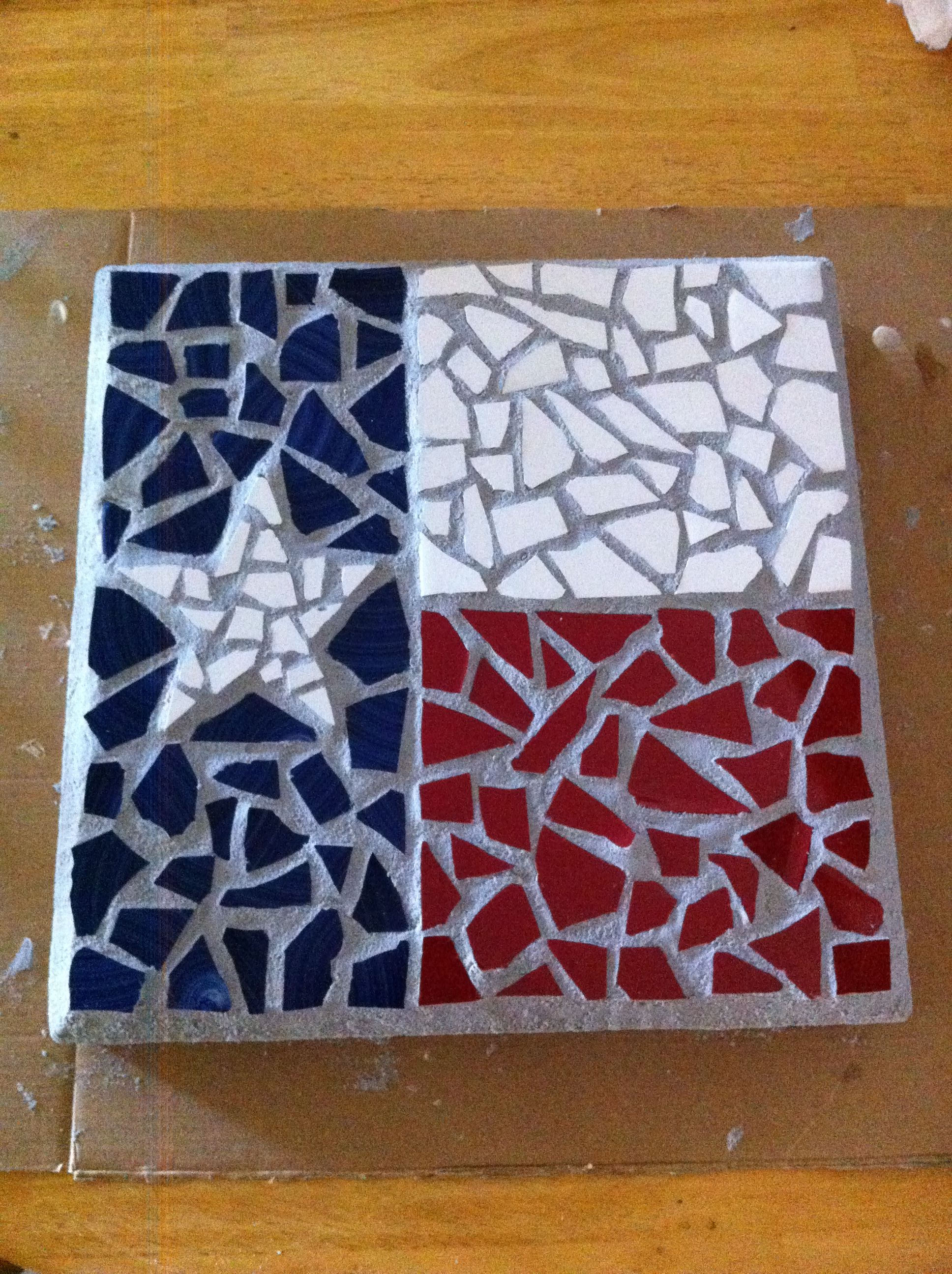 Texas flag mosaic stepping stone | Glass and Tile | Pinterest ...