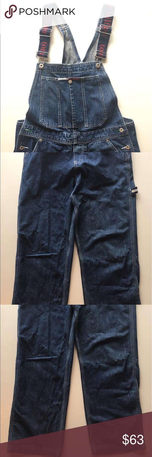 """Vintage Tommy Hilfiger Overalls size Large Vintage Tommy Hilfiger Overalls! Very cool. Size: Women's Large/ Men's Small. 30"""" W x 31"""" L Tommy Hilfiger Jeans Overalls"""