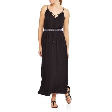 Faded Glory Women's Banded Woven Maxi Dress, Size: Small, Black