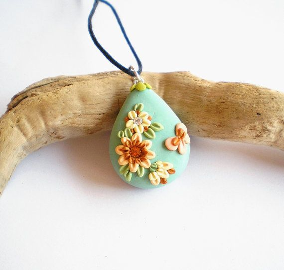 Green polymer clay pendant
