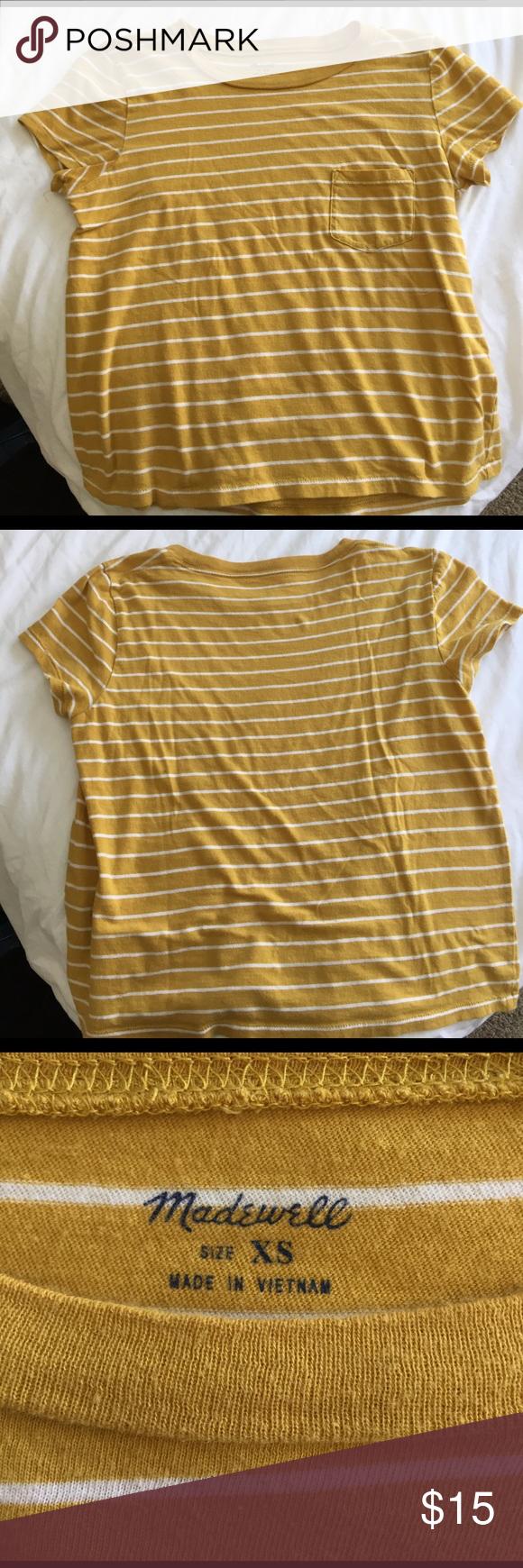 Madewell Ranger Tee Super cute mustard yellow strip crop top. Great minimalist look with jeans! Madewell Tops Crop Tops