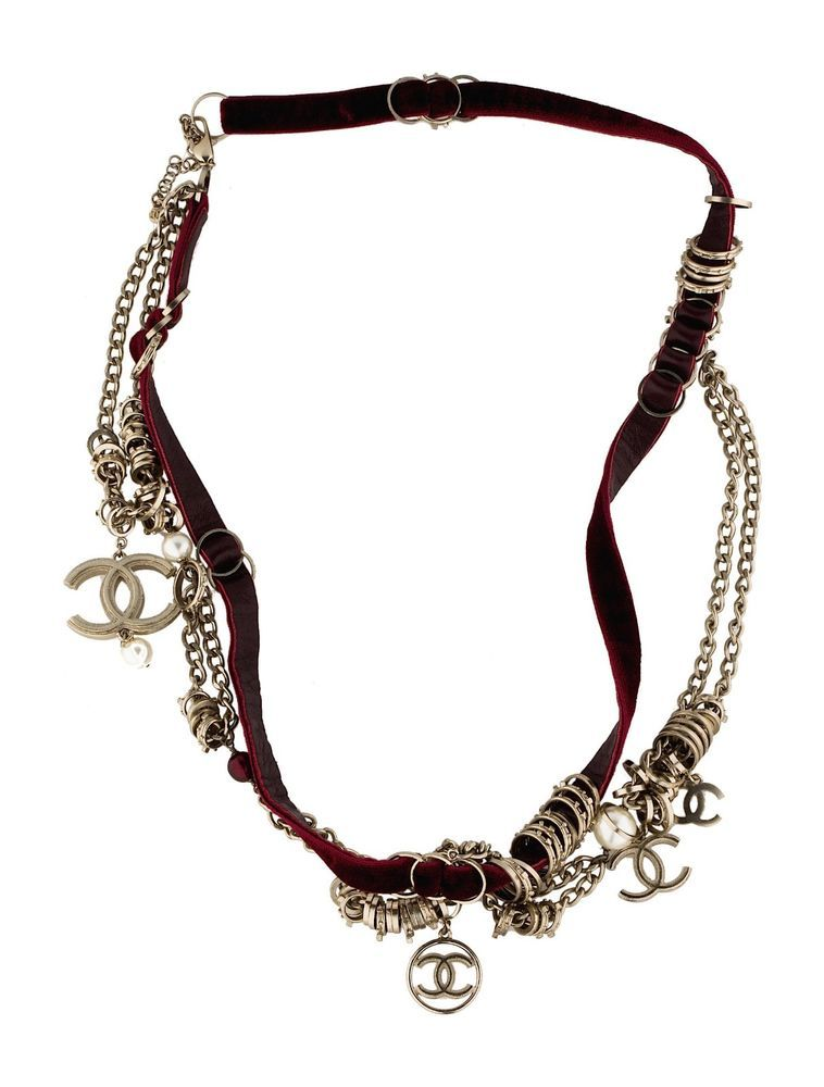 10c3b2c1d Authentic Chanel Velvet Necklace With Gold-Tone Chains & Charms #Chanel  #Charm