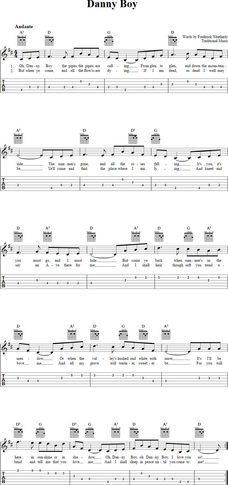 Danny Boy Guitar Tab   Guitar sheet music, Guitar tabs songs ...