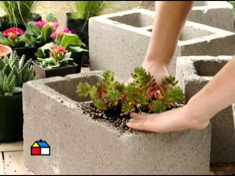 C mo hacer maceteros con bloques de hormig n lista de for Ideas faciles para decorar jardines
