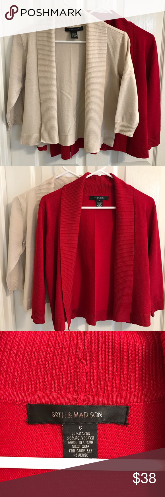 e0278c47397 Set of 2 cropped cardigans Two adorable shawl-collar cardigan sweaters! The  knit on these is incredibly soft and silky. These look GREAT over tanks or  ...