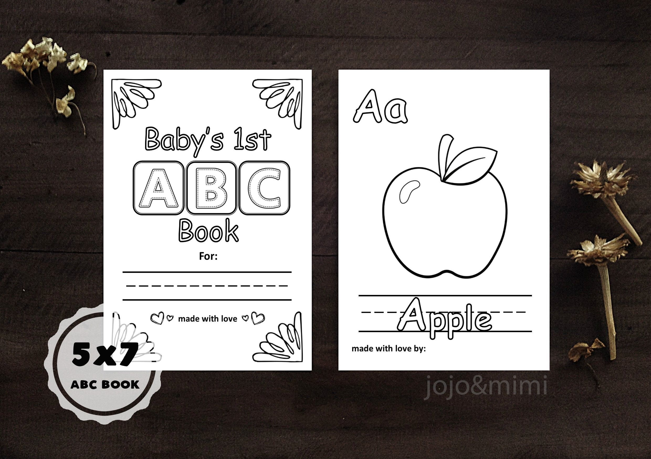 Instant Abc Baby Book Baby S First Alphabet Book Printable Alphabet Coloring Book Baby Shower Keepsake Activity 5x7 Pages Alphabet Book Printable Coloring Sheets Baby Shower Book