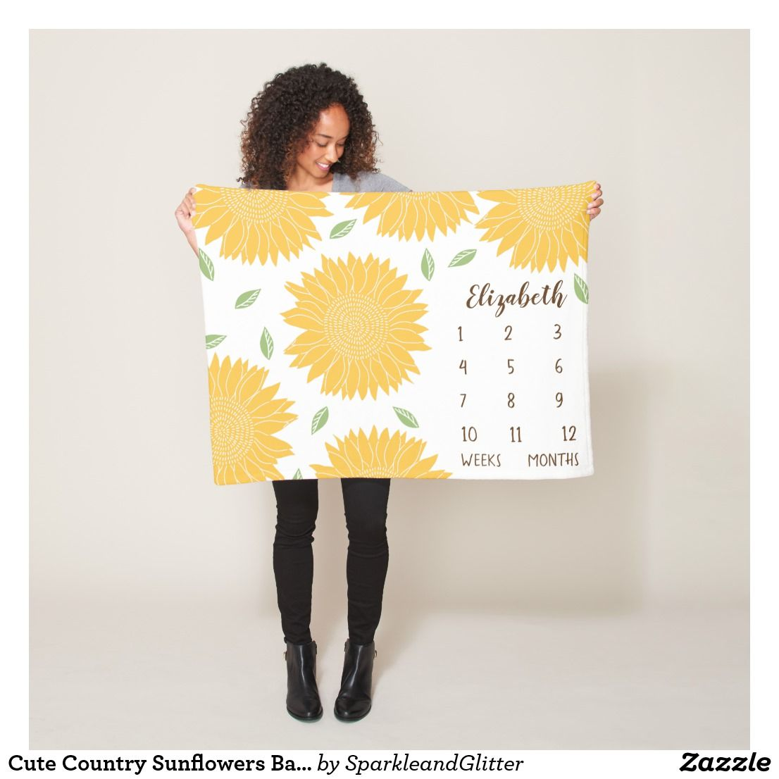Cute country sunflowers baby milestone fleece blanket all for baby