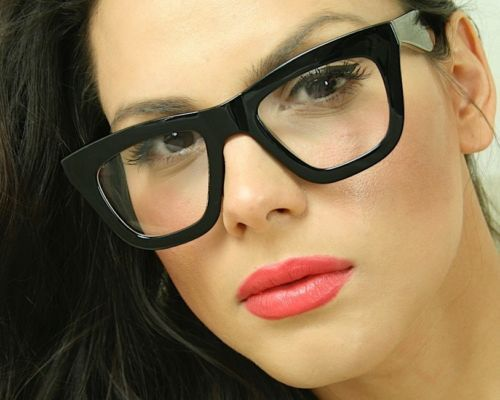 Sexy Cat Eye Big Oversized Clear Lens Thick Black Frame Women