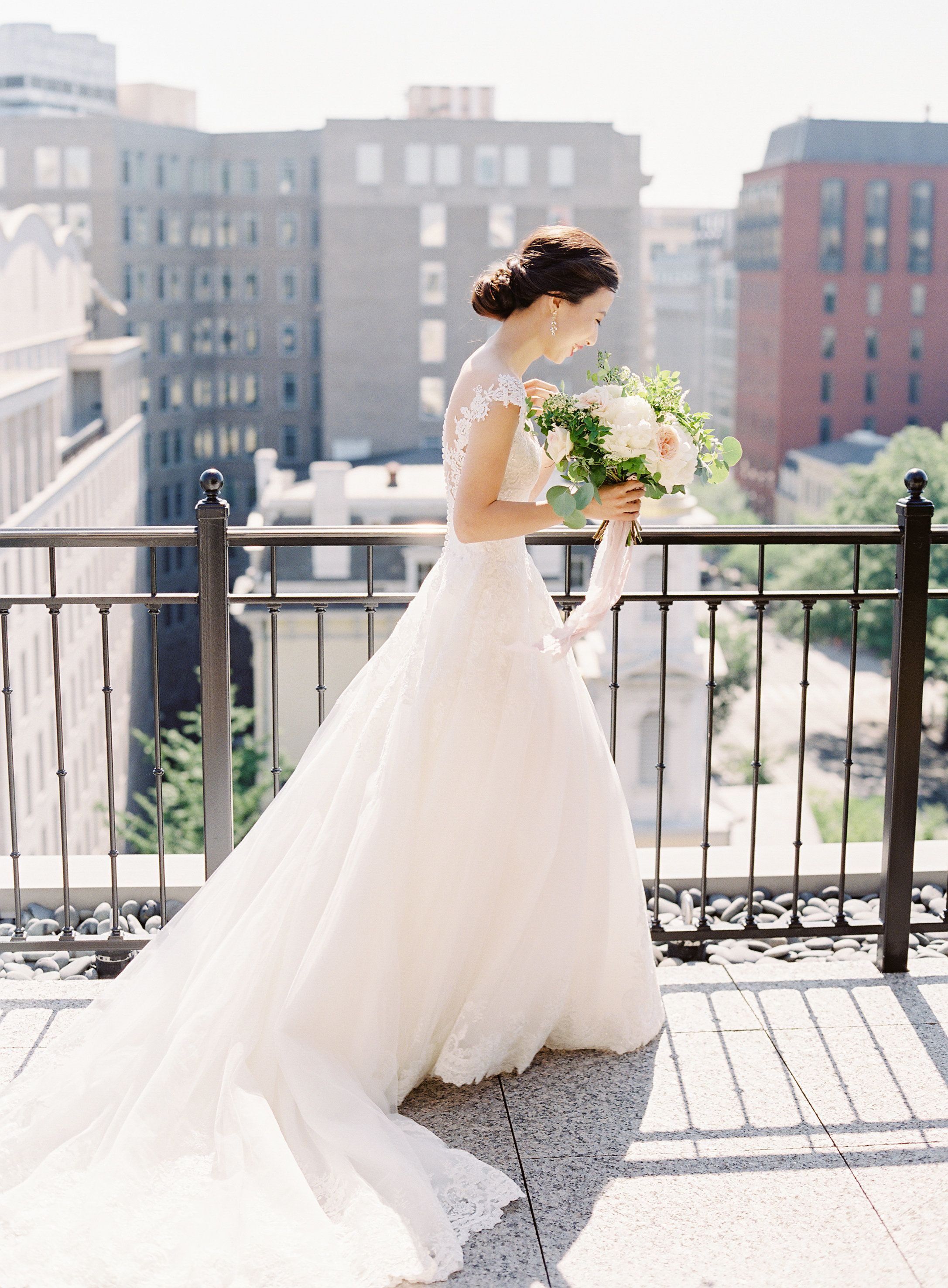 The Most Delicate D.C. Wedding With 2 Stunning Dresses | Washington ...