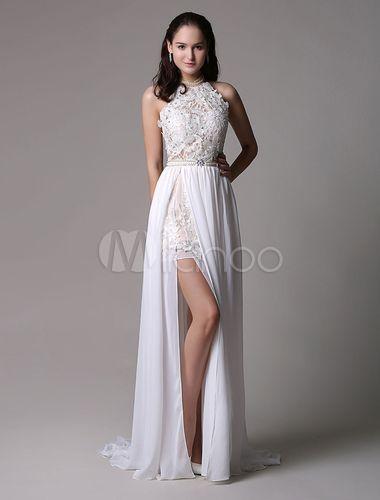 Ballkleid abiballkleid 2018 elegantes langes Abendkleid Weiß aus ...