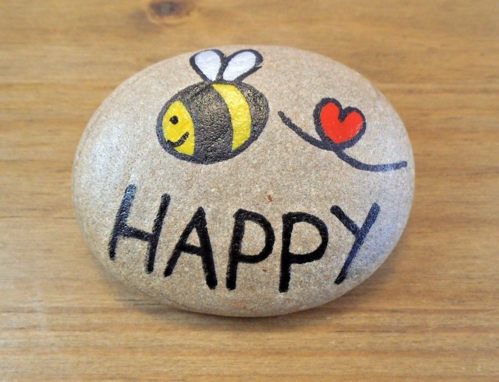Pebble art and craft.Hand painted rocks, stones, 'Bee happy', unique gift